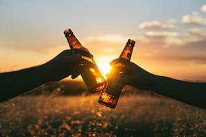 Proosten met bierflesjes